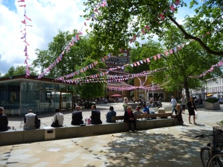 Duke of York square with bunting