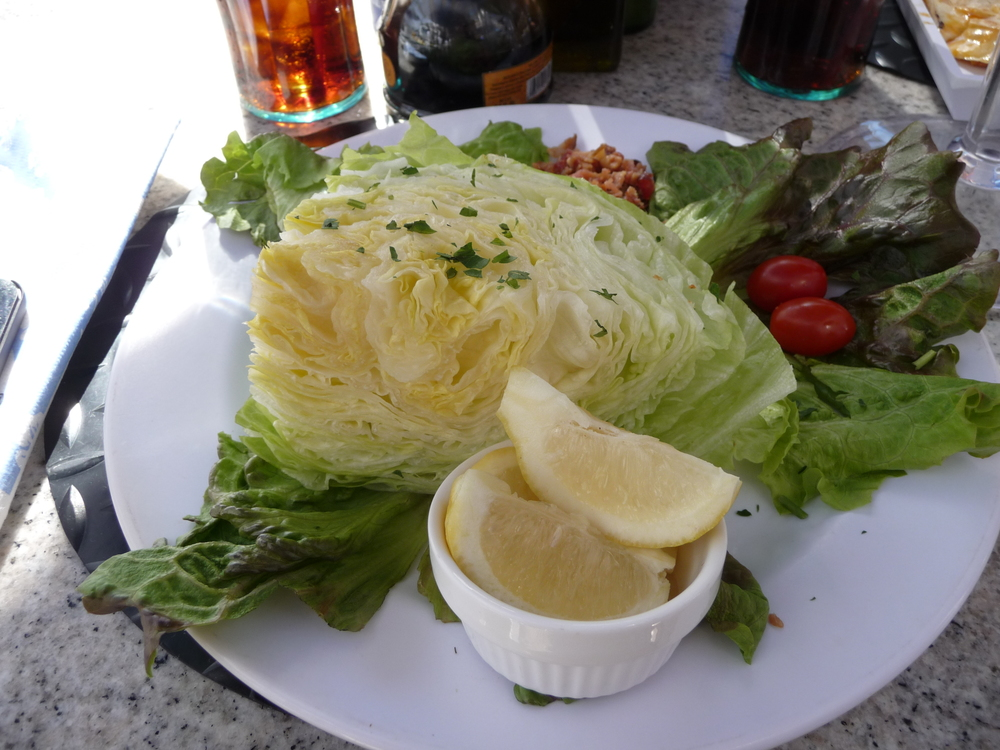 This was an Iceberg lettuce salad at the Paradise Cove Café !!!!