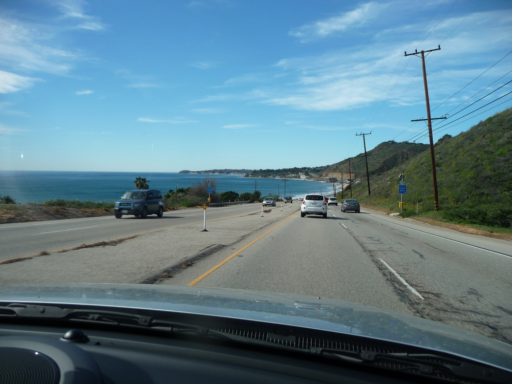 View of the coastline from the car