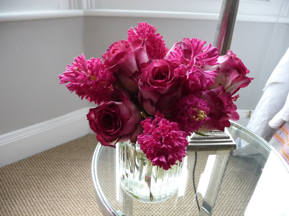 Another vase of pink roses and hyacinths brightens up my sitting room