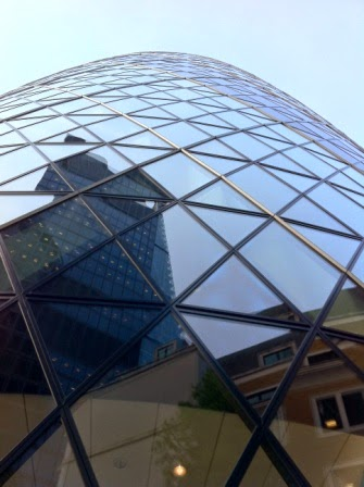 It's amazing the way the Gherkin is wedged between other buildings
