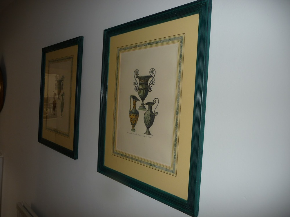 Two charity shop prints with ghastly gilt frames now painted in Aubusson Blue.