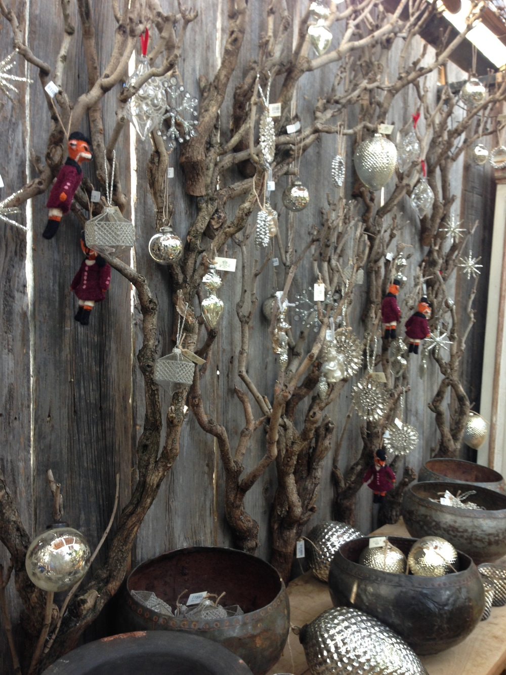 A wall of Christmas decorations
