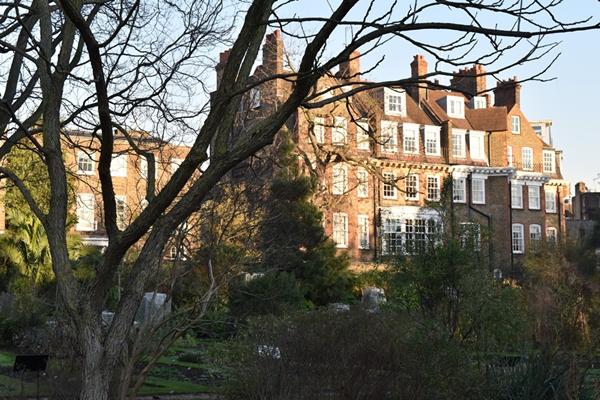 Beautiful houses overlooking the garden