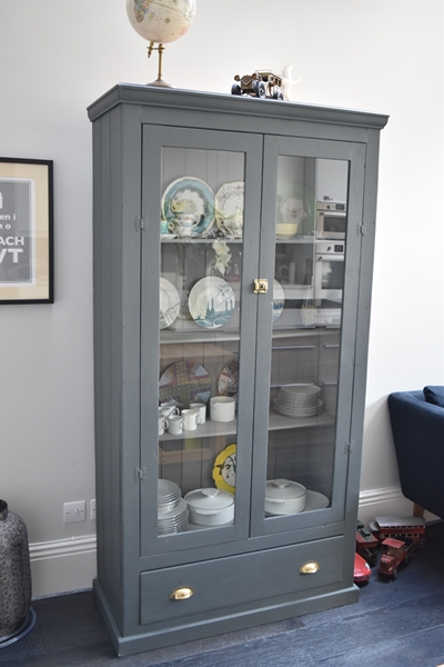 Upcycled glazed cabinet from local interiors shop, Quirky Dovetail, painted in Farrow & Ball 'Downpipe'