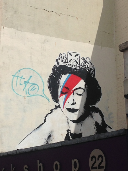 Another Bansky - he has drawn the Queen as Ziggy Stardust. Just a shame the vandals have added the speech bubble