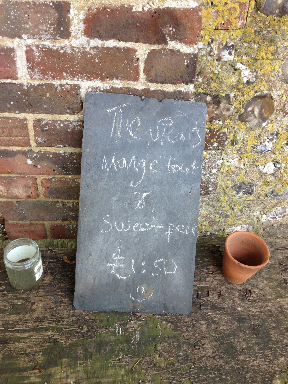 We were disappointed that the vicar's mangetout and sweet peas had all been sold!