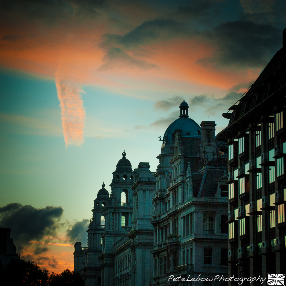 HM Treasury by sunset.