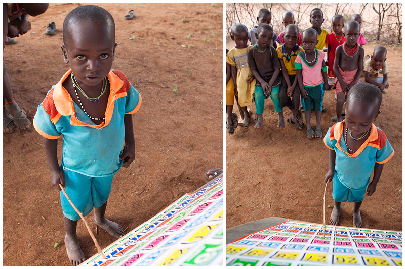 Each child comes to the front of the class, and using a stick, point to each number, leading the class as they chant the numbers out loud.
