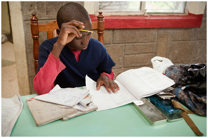 A secure home means somewhere safe and quiet to do homework. This boy hopes to be an accountant when he finishes school, but first he needs a sponsor for high school.