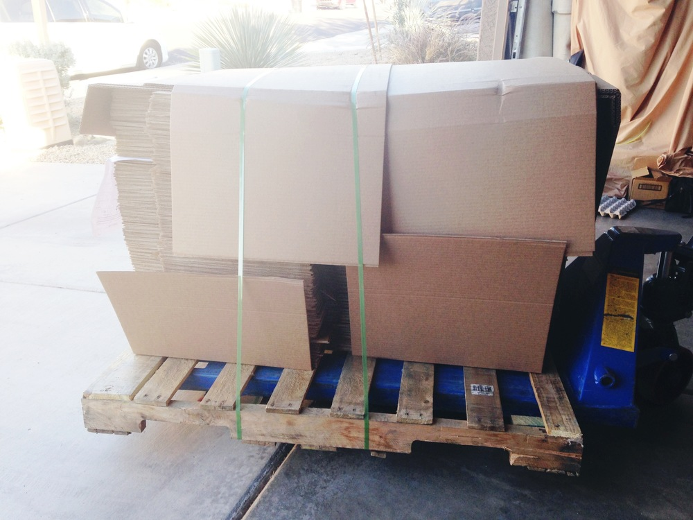 Nov 2014 - Our first pallet of MMB's delivered to Sarah's garage