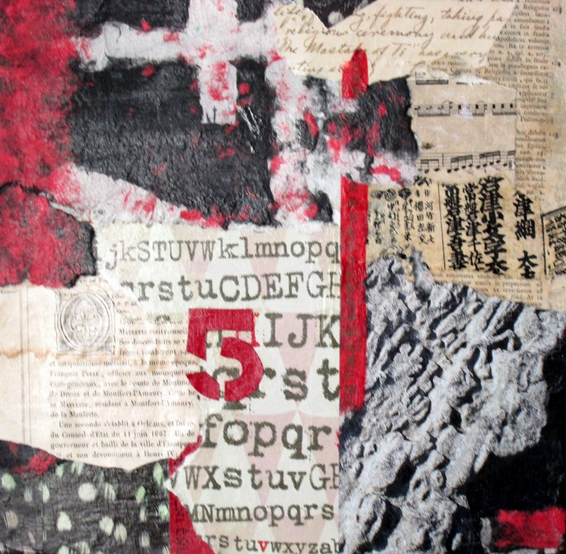 """FIVE  Collage  12"""" x 12"""""""