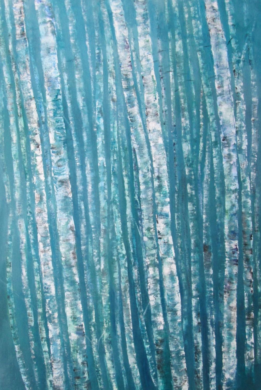"Birches on Blue - Acrylic - 24"""" x 36"""""