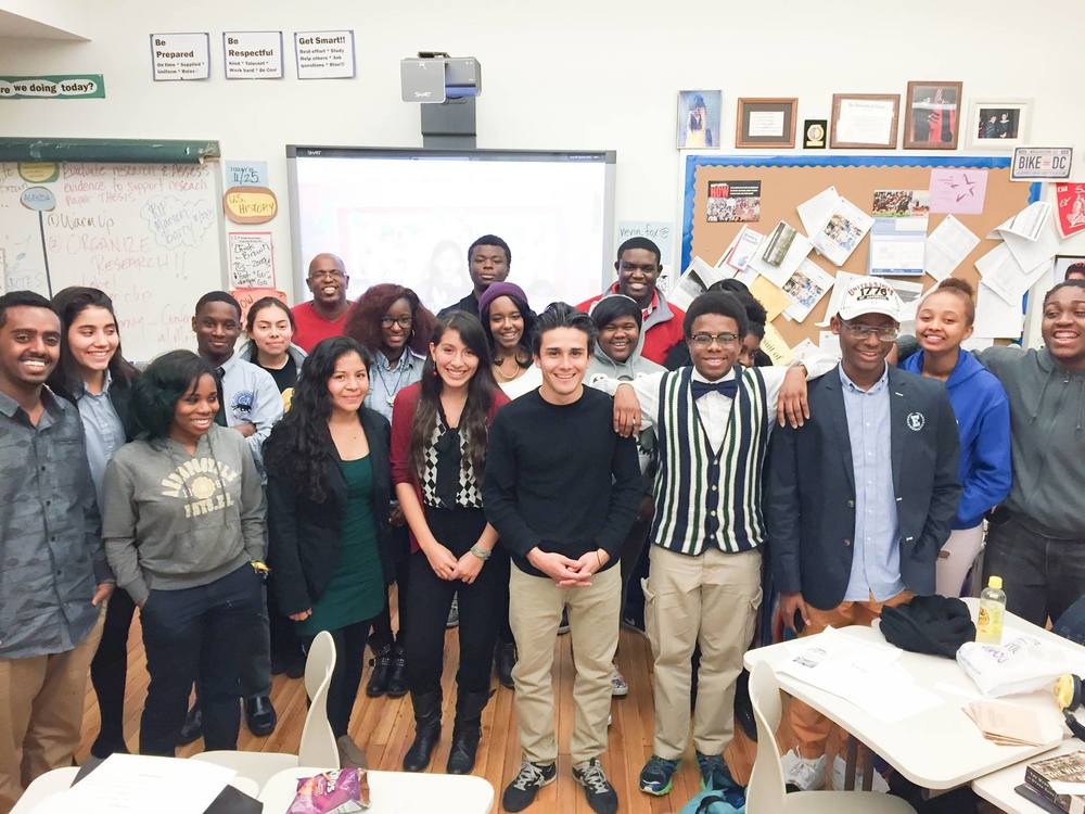 Group photo with Cosby Hunt's REAL WORLD HISTORY class