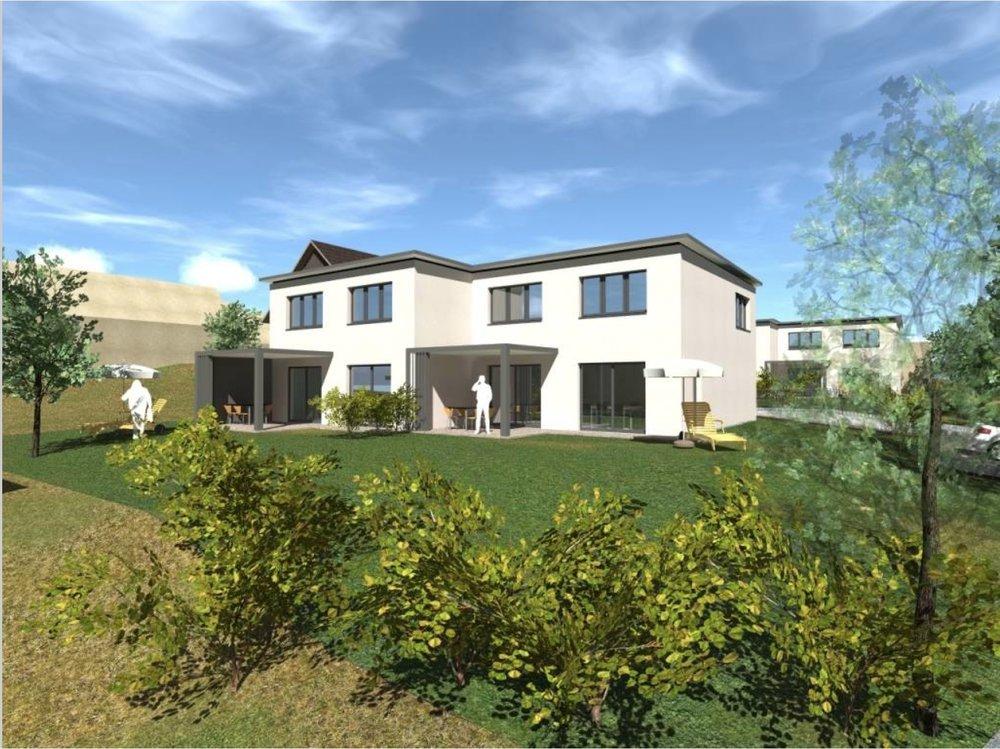 Auf dem gleichen Grundstück entstehen auch vier 5 1/2-Zimmer-Einfamilienhäuser, die gemietet werden können. Der Bezug der Häuser und der Wohnungen ist auf Frühling/Sommer 2019 geplant.