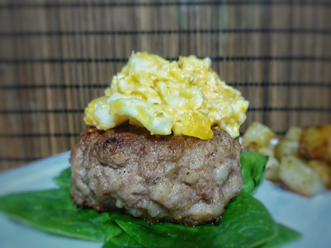 Pork Burger with Buffalo Egg Salad | Personally Paleo