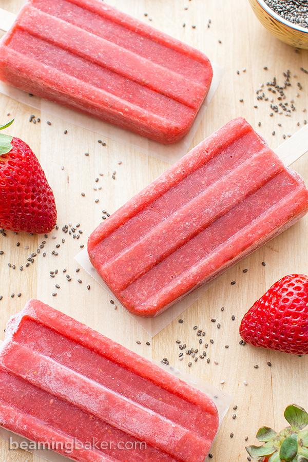 Vegan Strawberry Chia Seed Popsicles | Beaming Baker