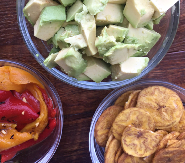 Prep all ingredients: fire roasted red peppers, avocados, lime, garlic, red onion and jalapeno.