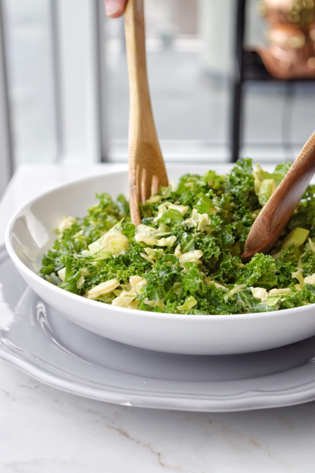 Honey Mustard Brussels Sprout & Kale Salad   Personally Paleo