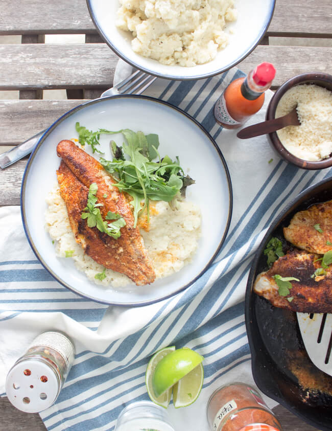 BBQ Catfish + Cauliflower Grits [Guest Post by The Hungary Buddha] | Personally Paleo