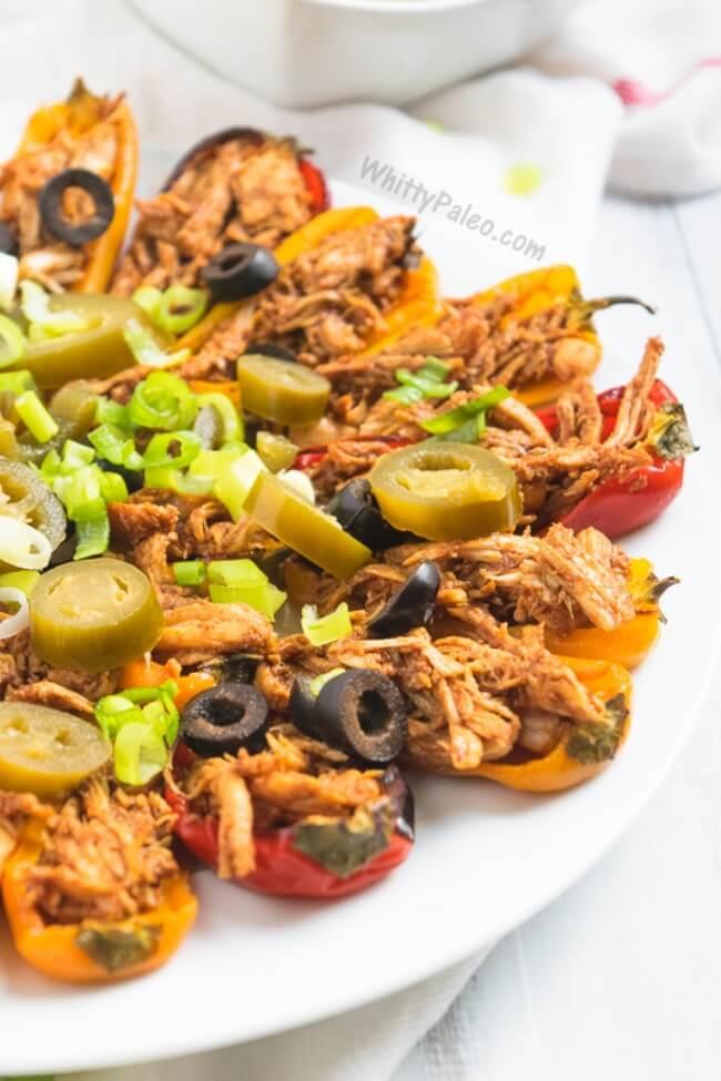 Roasted Mini Pepper BBQ Chicken Bites | Whitty Paleo