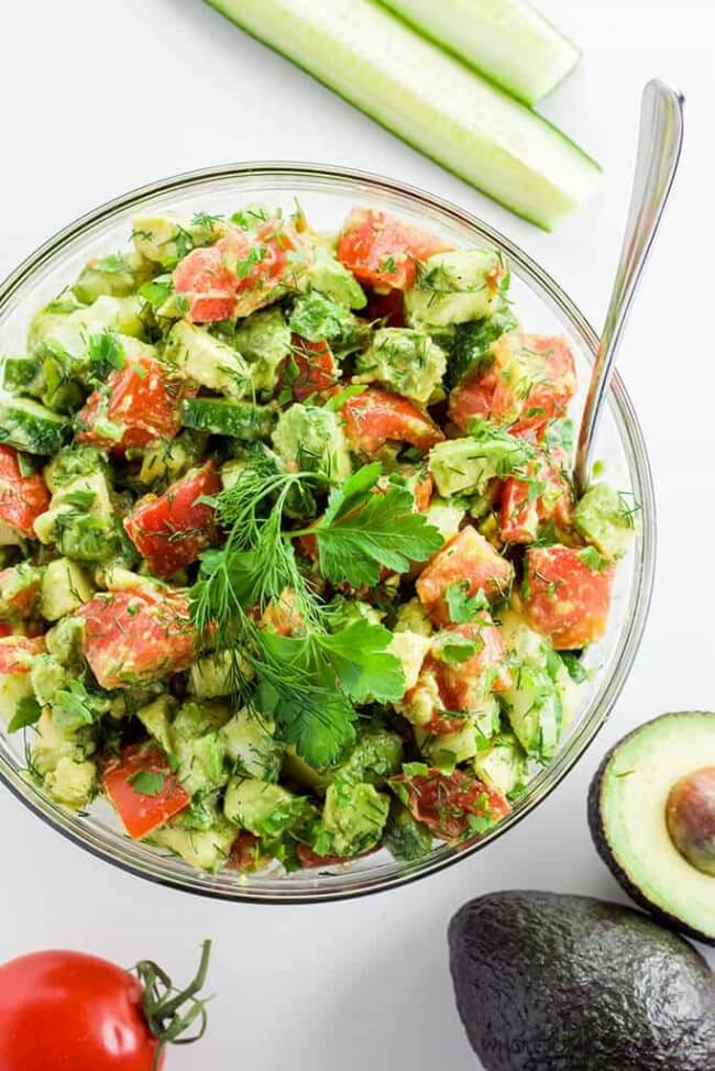 Cucumber Tomato Avocado Salad | Wholesome Yum
