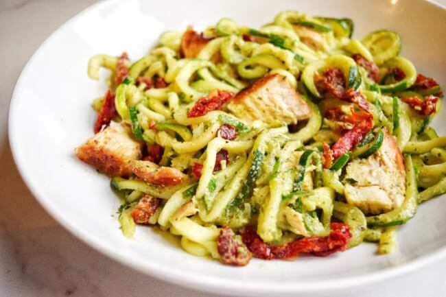Sun-Dried Tomato + Basil Pesto Zoodles