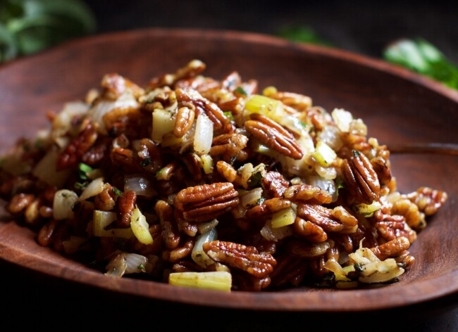 Low-Carb Pecan Stuffing | Simply So Healthy