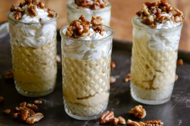 No-Bake Pumpkin Pie Shooters with Honey Candied Pecans | Intoxicated on Life