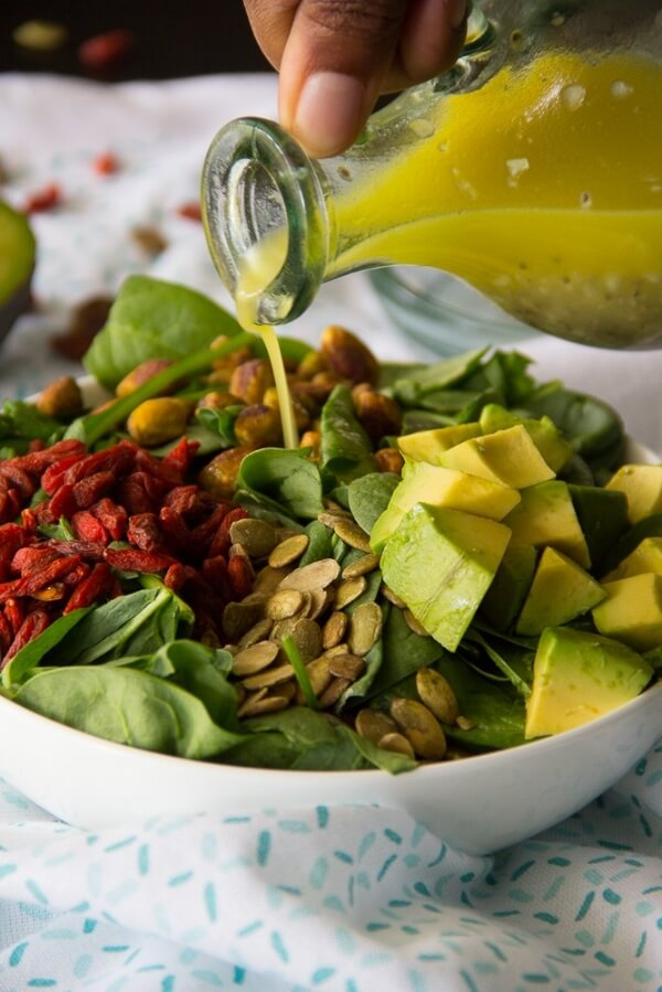 Power Salad with Balsamic Chia Seed Vinaigrette | Say Gracer