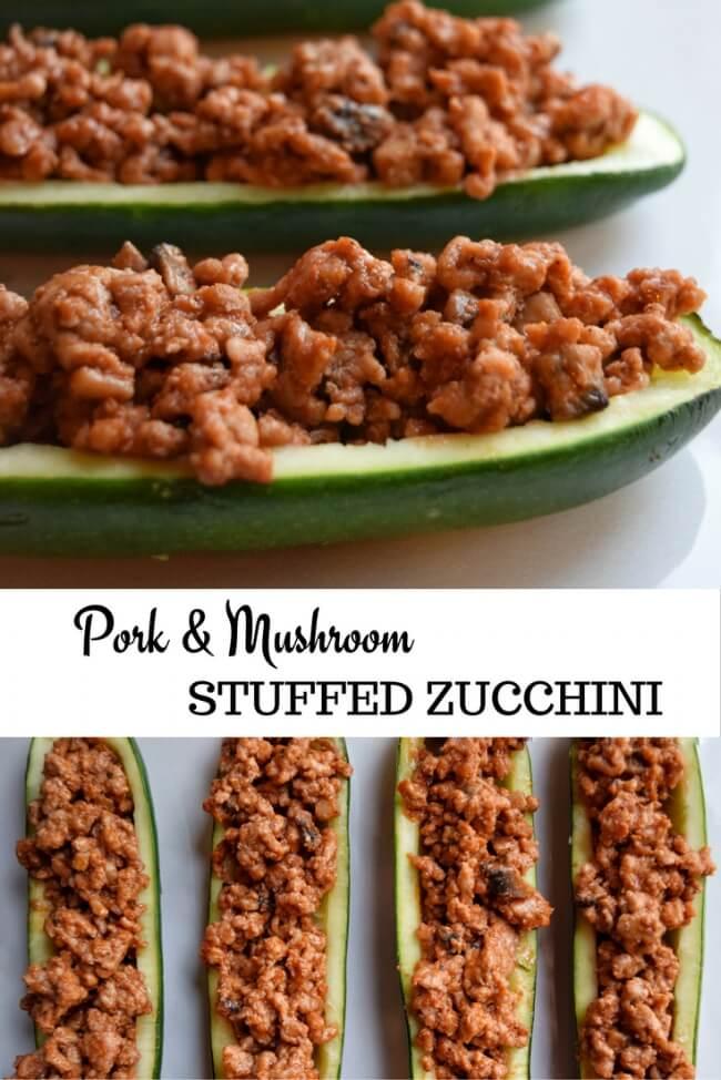 Pork + Mushroom Stuffed Zucchini (Whole30, Dairy Free) | Personally Paleo
