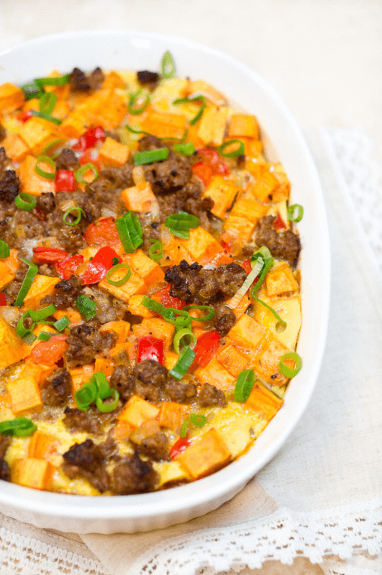 Sweet Potato, Sausage and Egg Breakfast Casserole | Delicious Meets Healthy