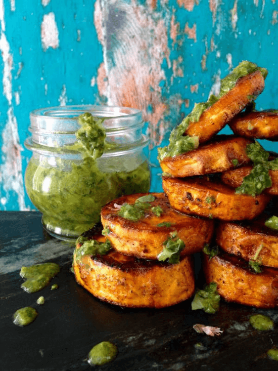 Baked Sweet Potato Rounds with Chimichurri Sauce | Ciao Florentina