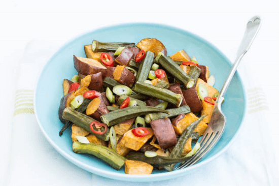 Roasted Sweet Potato and Okra Salad | Recipes from a Pantry