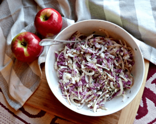 Tangy Apple Red Cabbage Slaw | A Squared
