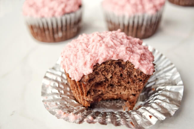 Chocolate Coconut Cupcakes + Strawberry Frosting