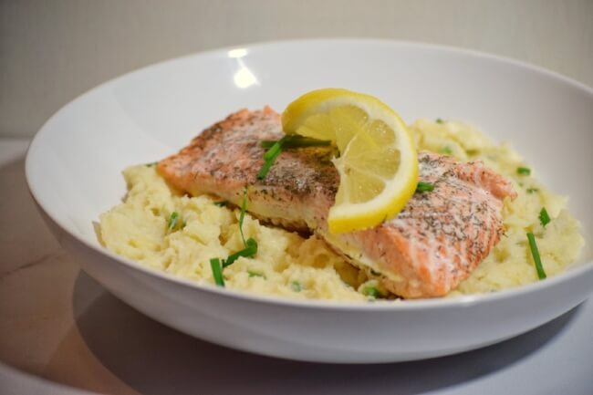 Lemon Dill Salmon + Creamy Chive Mashed Parsnips