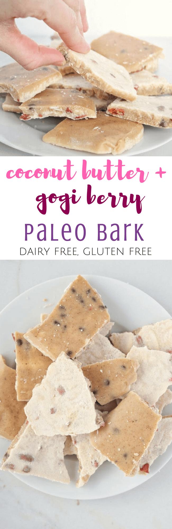 Coconut Butter + Goji Berry Paleo Bark (Dairy Free) | Personally Paleo