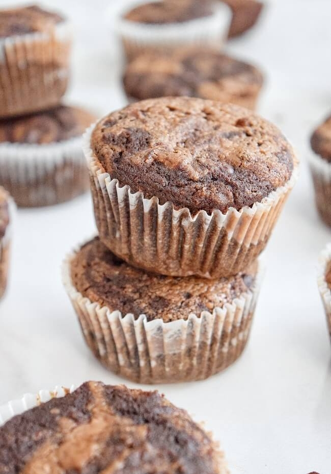 GF Double Chocolate Almond Butter Swirl Muffins| Personally Paleo