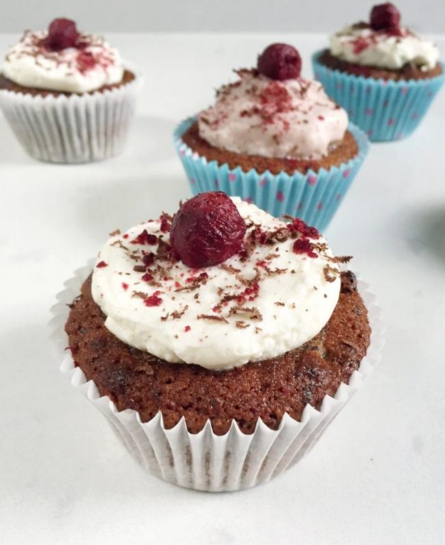 Dark Chocolate Cherry Cupcakes | Emma Eats & Explores