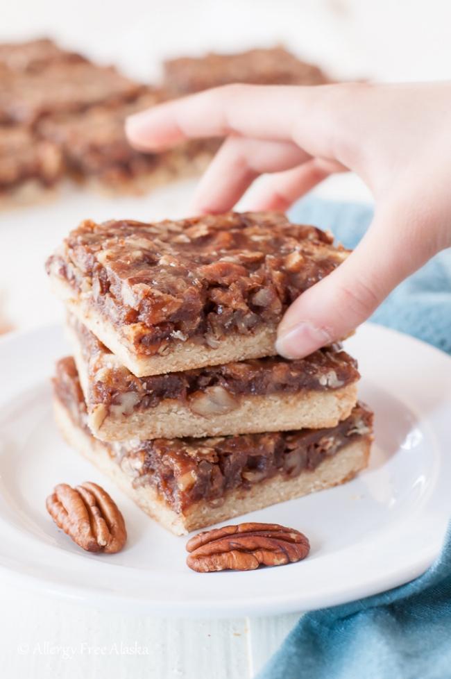 Vegan Paleo Pecan Pie Bars | Allergy Free Alaska