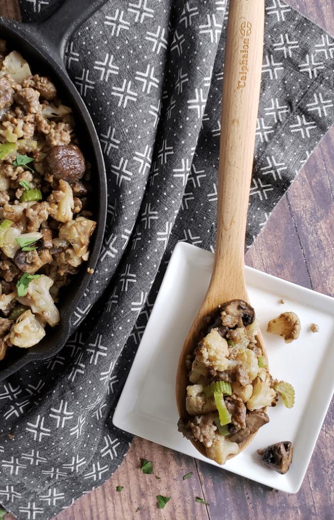Paleo Sausage & Mushroom Cauliflower Stuffing| Taste Abounds