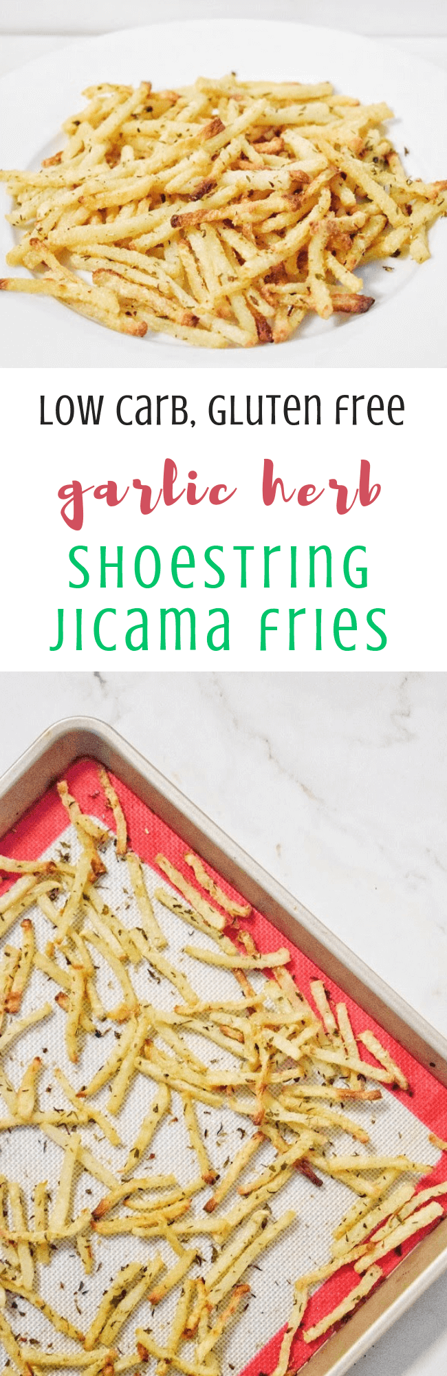 Low Carb Garlic Herb Shoestring Jicama Fries | Personally Paleo