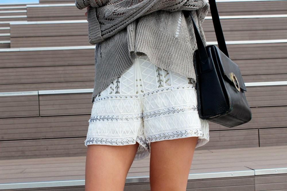 embellished shorts street style