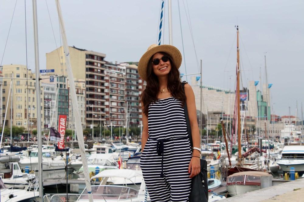 stripes jumpsuit street style