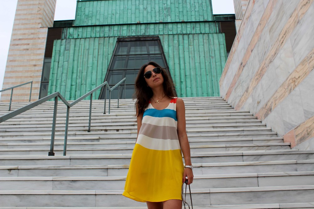 Colourful dress street style