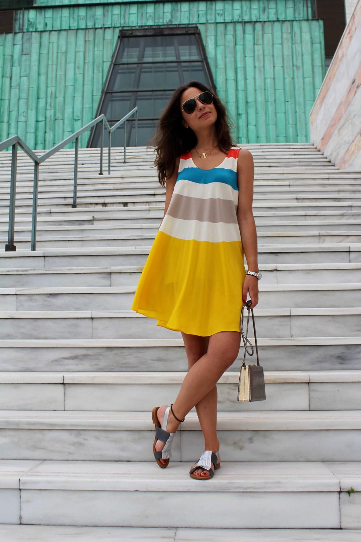 stripes dress street style