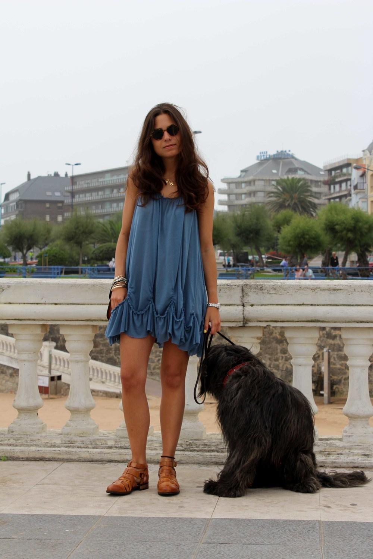 street style blue dress summer