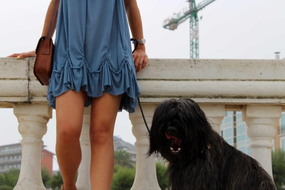 street style blue summer dress