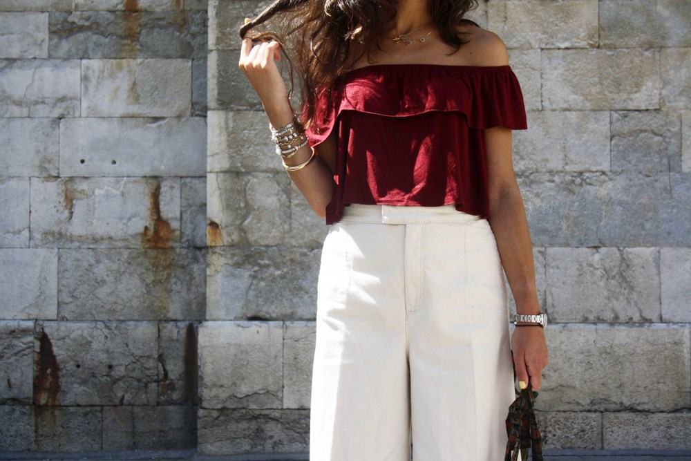 street style culotte nude pants